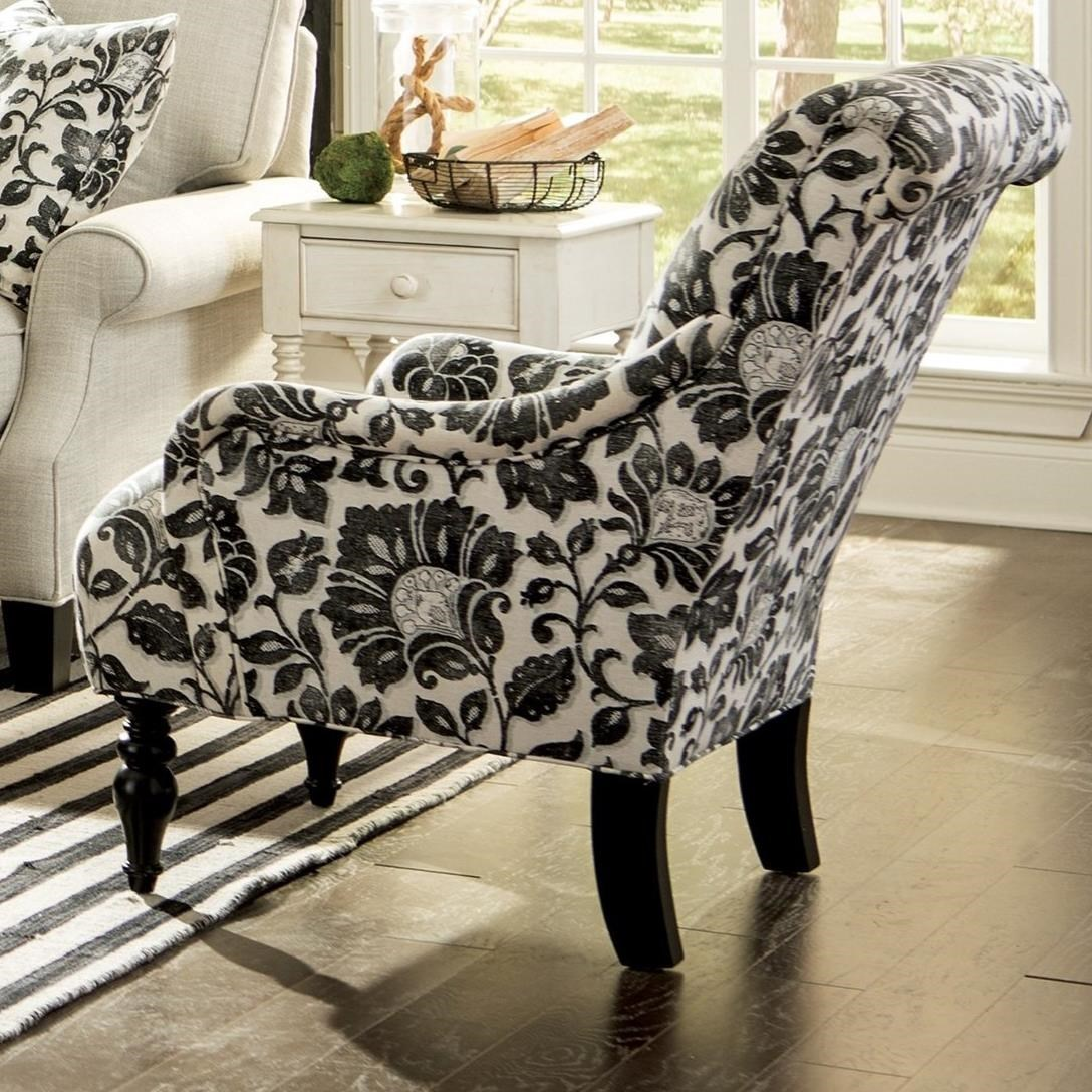 Accent Rex Meubles 069410 Traditional Chair With English Arms And Scrolled Back