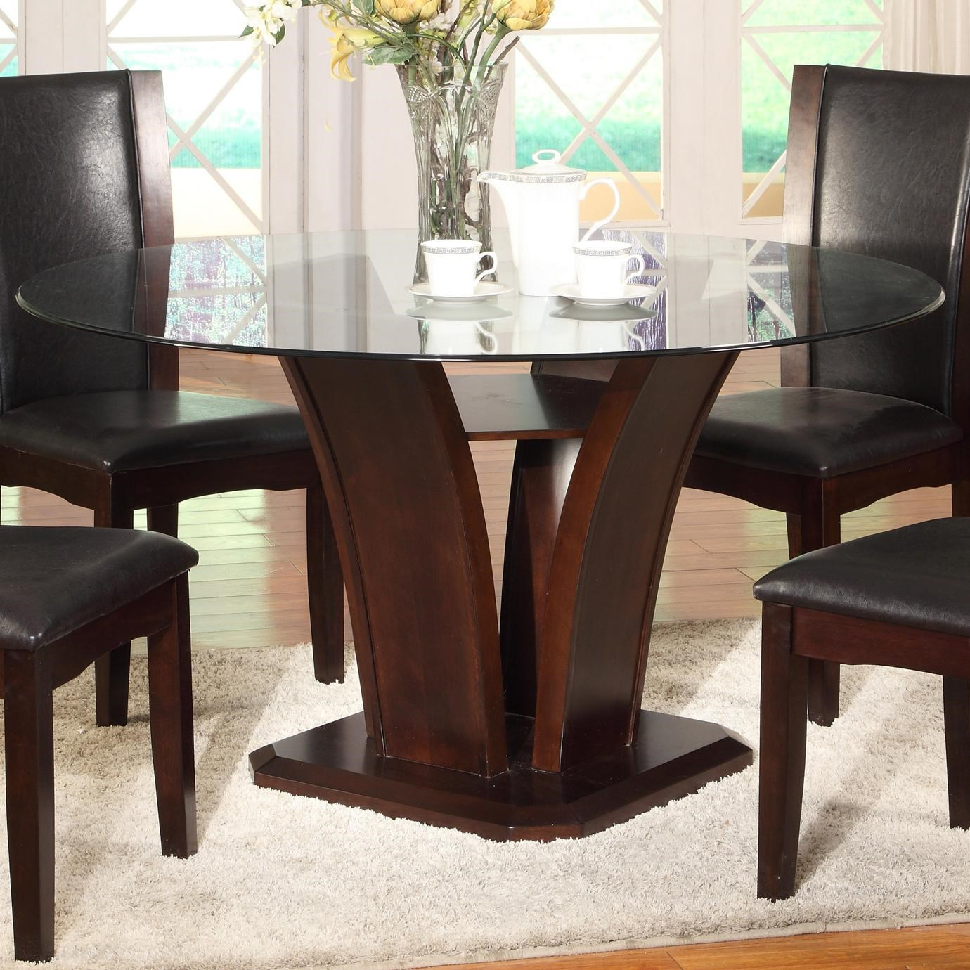 Round Glass Top Dining Table Camelia Espresso Round Glass Top Dining Table With Inverted Base By Crown Mark At Dunk Bright Furniture