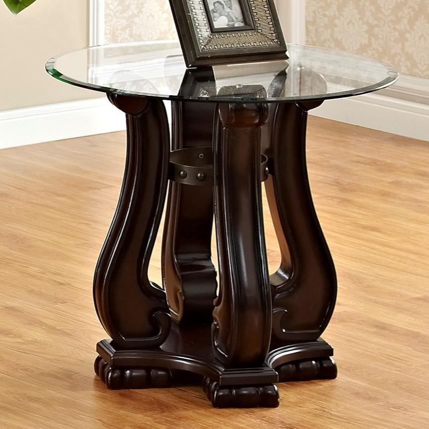 Coffee And End Tables With Storage Madison Traditional End Table With Glass Top By Crown Mark At Household Furniture