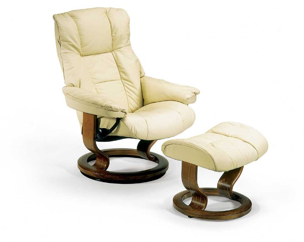 Stresless Mayfair Small Reclining Chair Ottoman With Classic Base By Stressless At John V Schultz Furniture