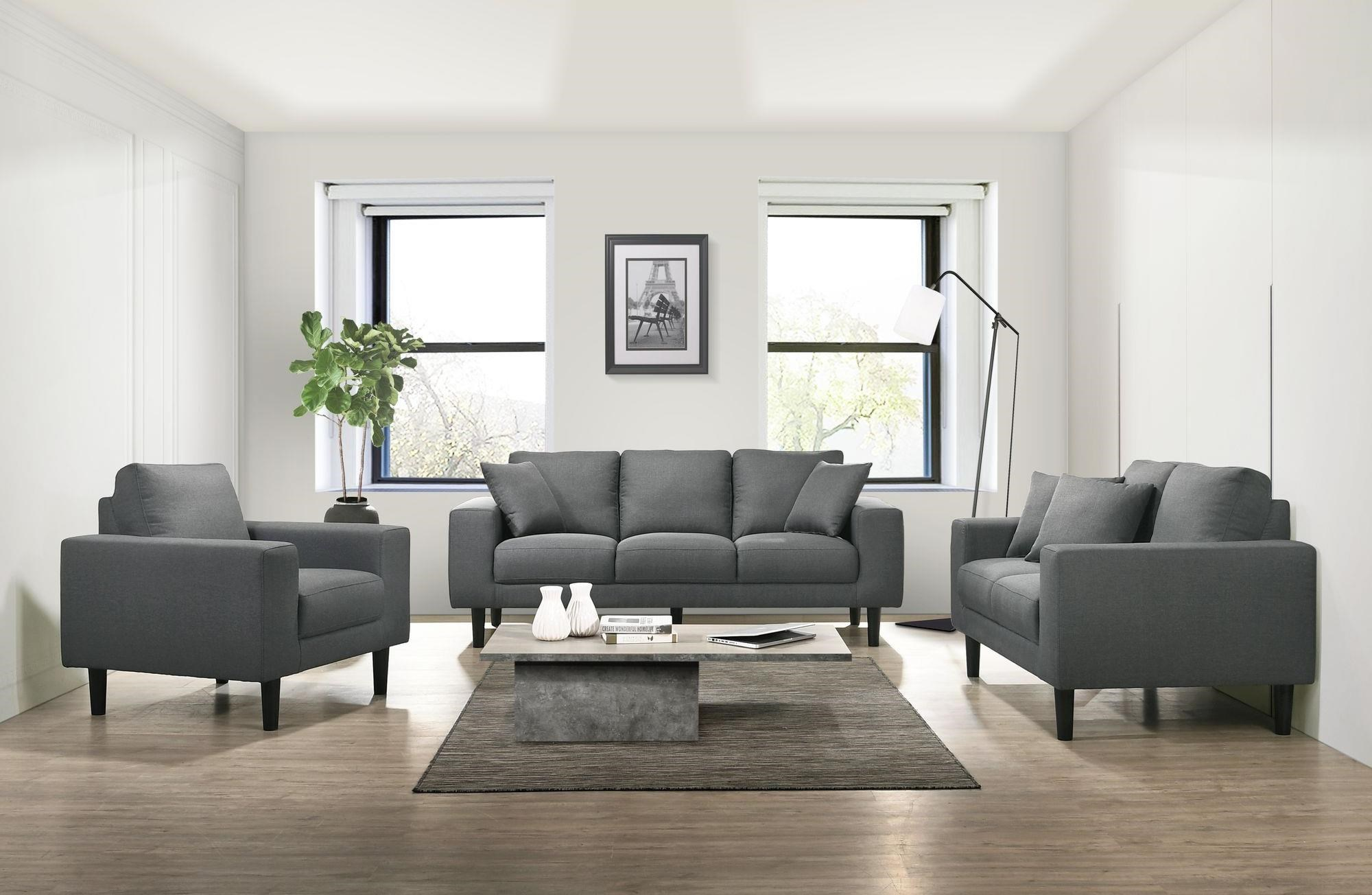 Elements International Apollo Midnight Usp 3450 Grey Sofa Loveseat And Chair Living Room Set Sam Levitz Furniture Stationary Living Room Groups