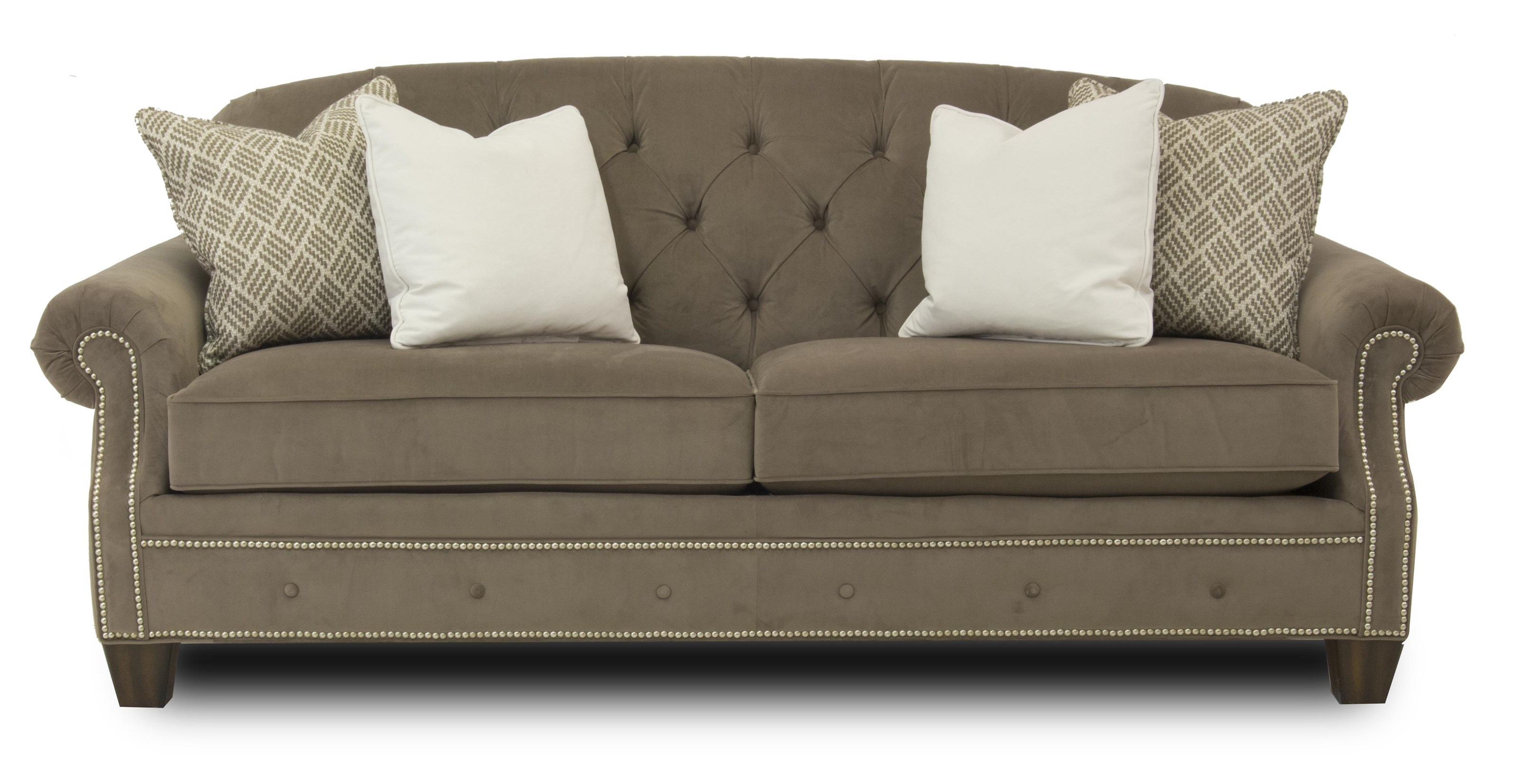 Sofa S Champion Transitional Button Tufted Sofa With Rolled Arms And Nailheads By Flexsteel At Ruby Gordon Home