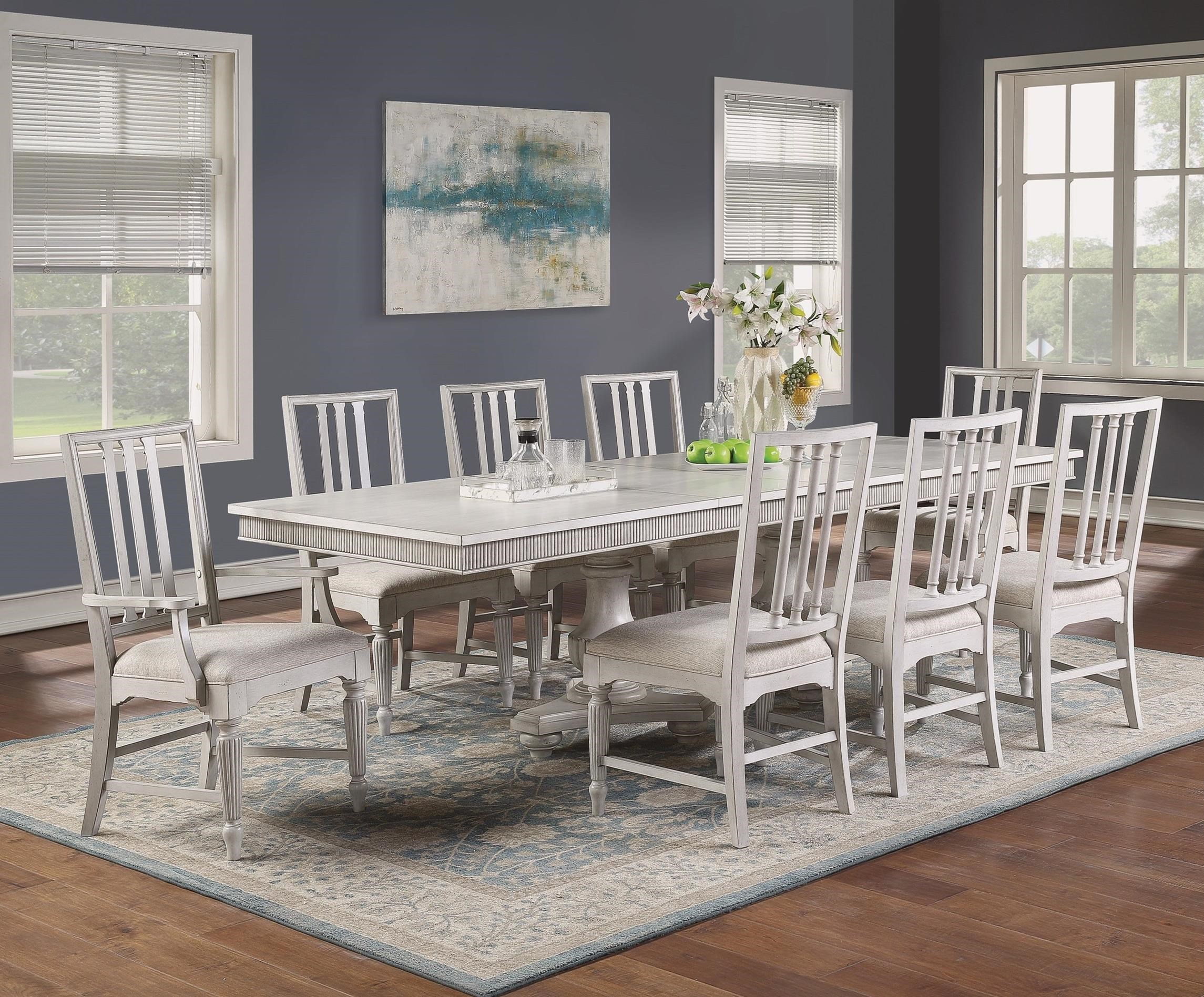 Flexsteel Wynwood Collection Harmony 7 Piece Cottage Dining Table Set With Arm Chairs Sheely S Furniture Appliance Dining 7 Or More Piece Sets