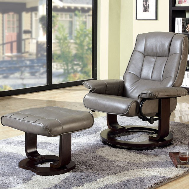 Leather Recliner Chair With Ottoman Cheste Faux Leather Reclining Lounge Chair With Ottoman By Furniture Of America At Rooms For Less