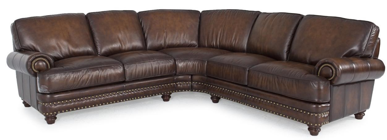 Sectional Bed Sofa Westbury Leather Traditional Dark Brown Leather Sectional With Nailhead Trim By Futura Leather At Dunk Bright Furniture