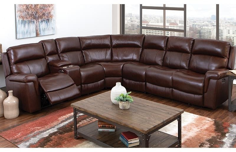 Leather Sectional Sofa Recliner 3 Piece Genuine Leather Reclining Sectional W Cupholder Storage Console Usb Port And Power Headrests By Happy Leather Company At Darvin Furniture