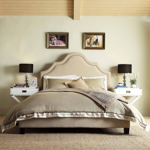 Making An Upholstered Headboard With Nailhead Trim Homelegance E377 Beige Transitional King Upholstered Headboard