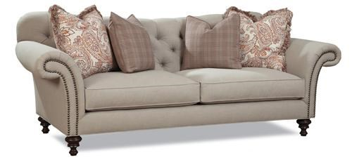 High Quality Sofa Pillows Huntington House 7469 Classic Button Tufted Sofa With Rolled Arms