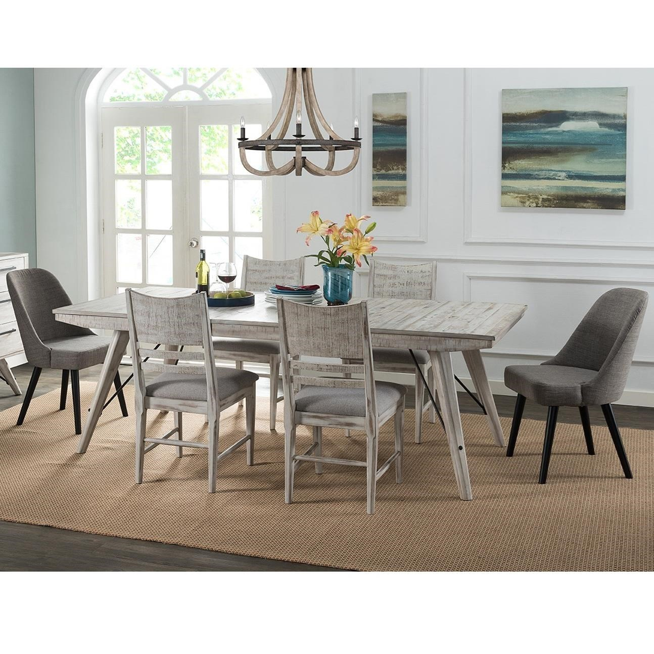 Intercon Modern Rustic Contemporary 7 Piece Table And Chair Set Wayside Furniture Dining 7 Or More Piece Sets
