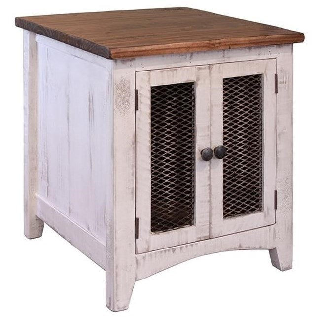 Rustic Wood End Table Pueblo Rustic End Table With Mesh Doors By International Furniture Direct At Miskelly Furniture