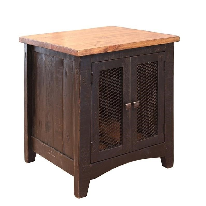 Rustic Wood End Table Pueblo Rustic End Table With Mesh Doors By International Furniture Direct At Gill Brothers Furniture