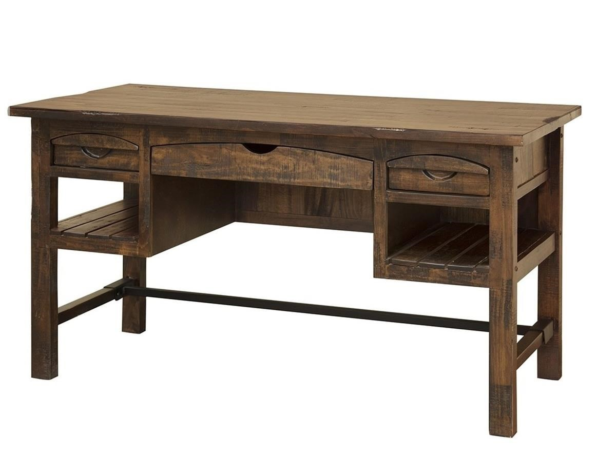 Desks With Drawers International Furniture Direct Mezcal Rustic Solid Wood Desk With