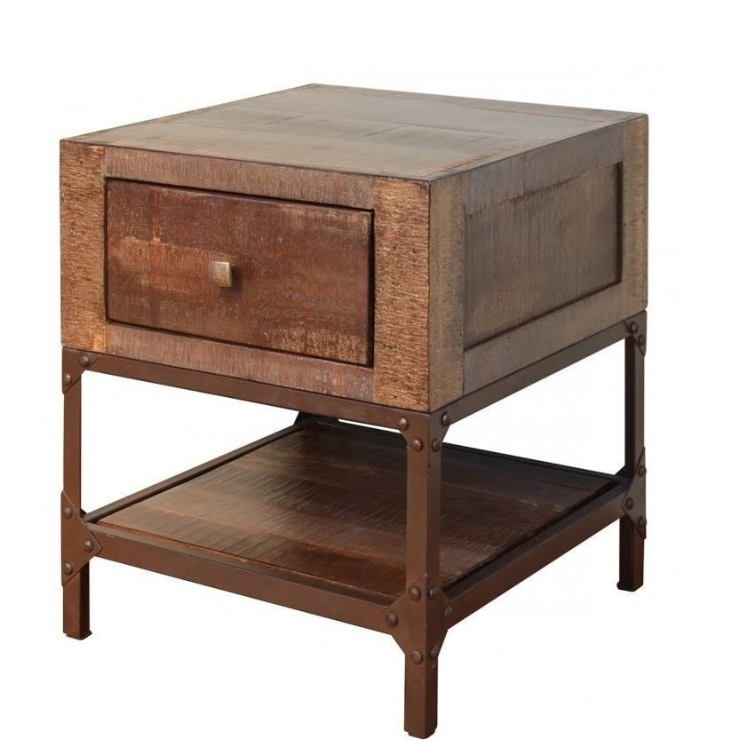 Rustic Wood End Table Urban Gold Rustic Contemporary End Table With 1 Drawer By International Furniture Direct At Darvin Furniture