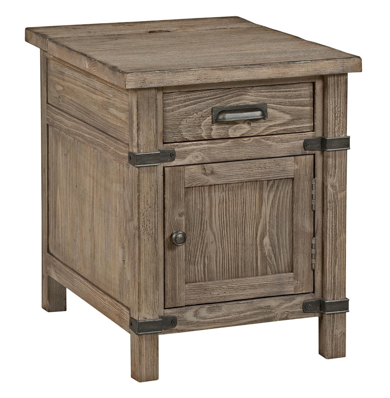 Rustic Wood End Table Foundry Rustic Weathered Gray Chairside Table With Power Outlet By Kincaid Furniture At Becker Furniture World