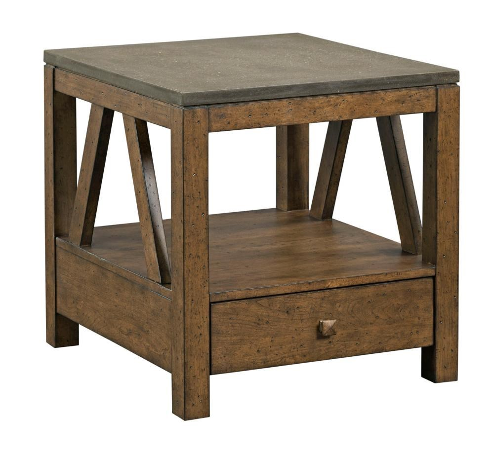 Rustic Wood End Table Mason Industrial Rustic End Table With Drawer And Finished Concrete Top By Kincaid Furniture At Wayside Furniture