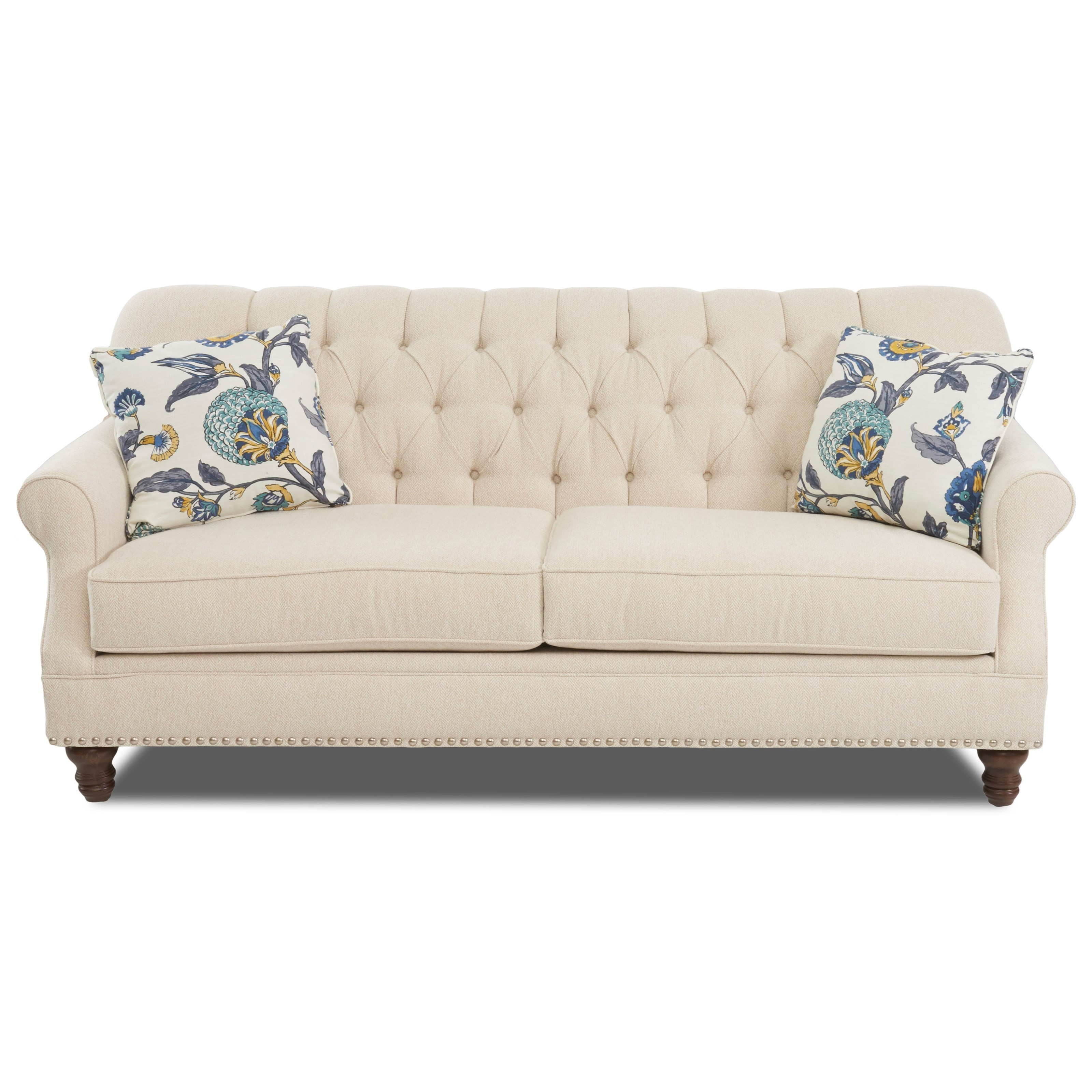 Sofa S Burbank Traditional Tufted Apartment Size Sofa With Nailheads By Klaussner At Sheely S Furniture Appliance