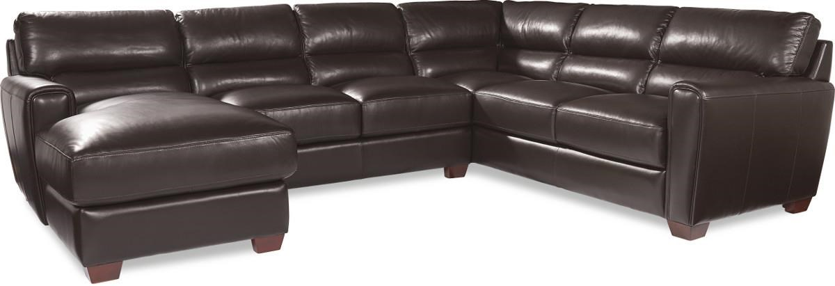 Alpha Sofa Group La Z Boy Brody Three Piece Contemporary Leather Sectional Sofa
