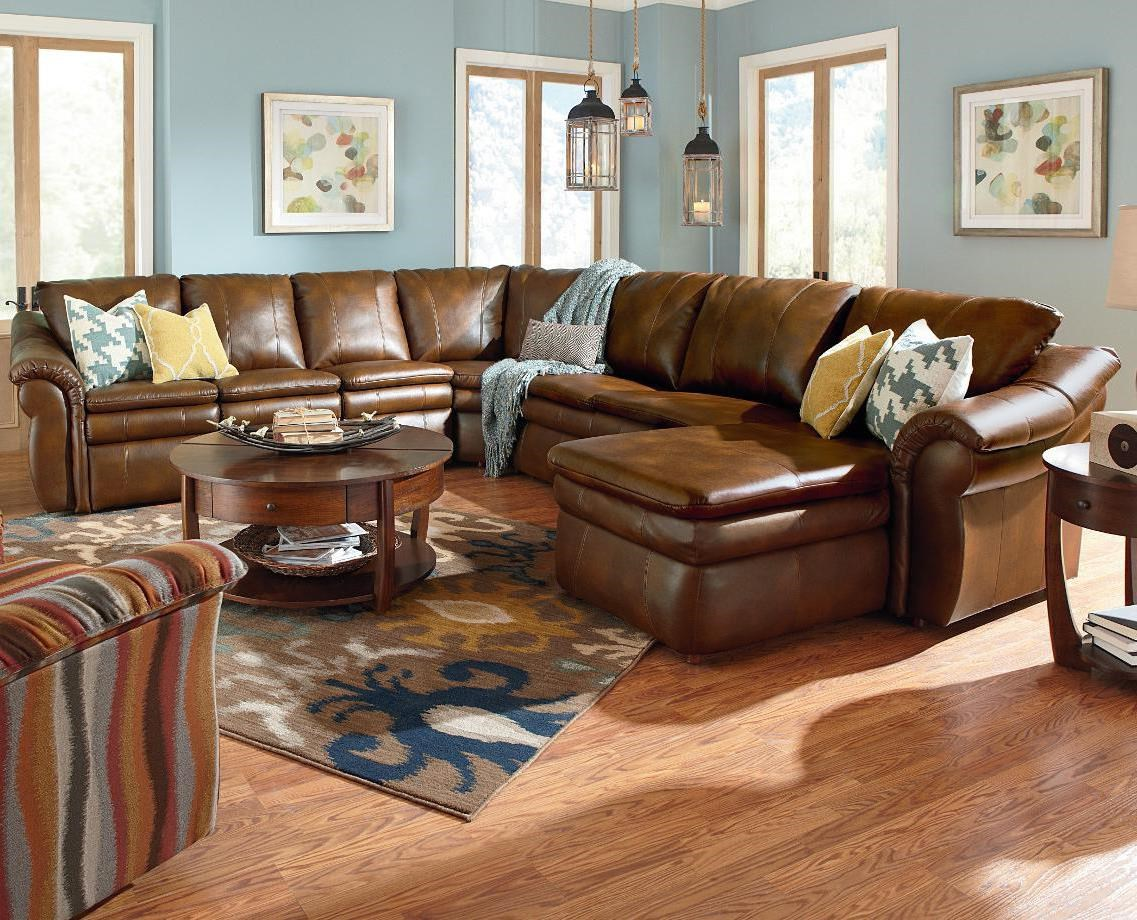 Leather Sectional Sofa Recliner La Z Boy Devon 5 Piece Power Reclining Sectional With Left Arm