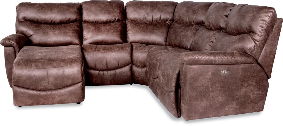 Leather Sofa La Z Boy James Four Piece Reclining Sectional Sofa With Ras Reclining Chaise By La Z Boy At Rune S Furniture