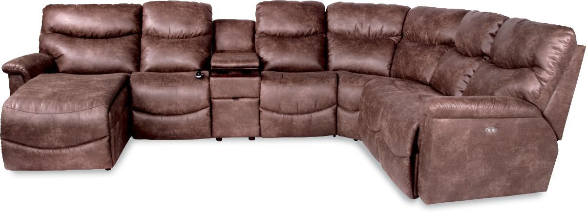 Leather Sofa La Z Boy James Six Piece Power Reclining Sectional With Ras Chaise By La Z Boy At Novello Home Furnishings