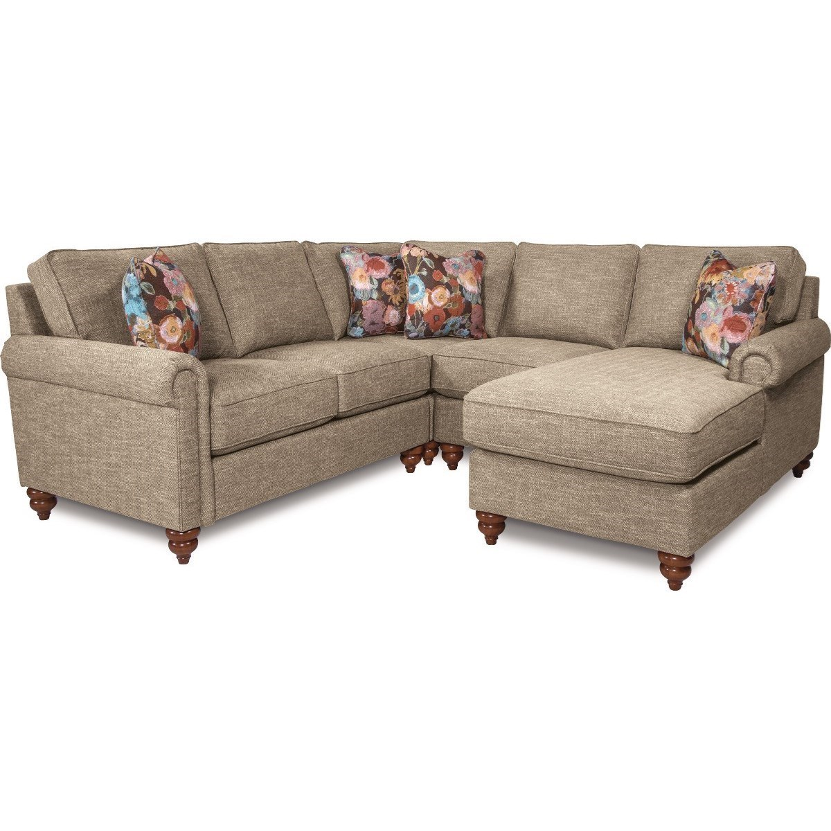 Chaise Pc La Z Boy Leighton Traditional Four Piece Sectional Sofa With Left