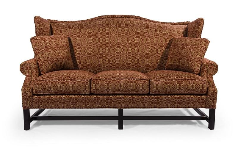 Settee No Arms Homespun High Wing Back Sofa With Rolled Arms By Lancer At H L Stephens