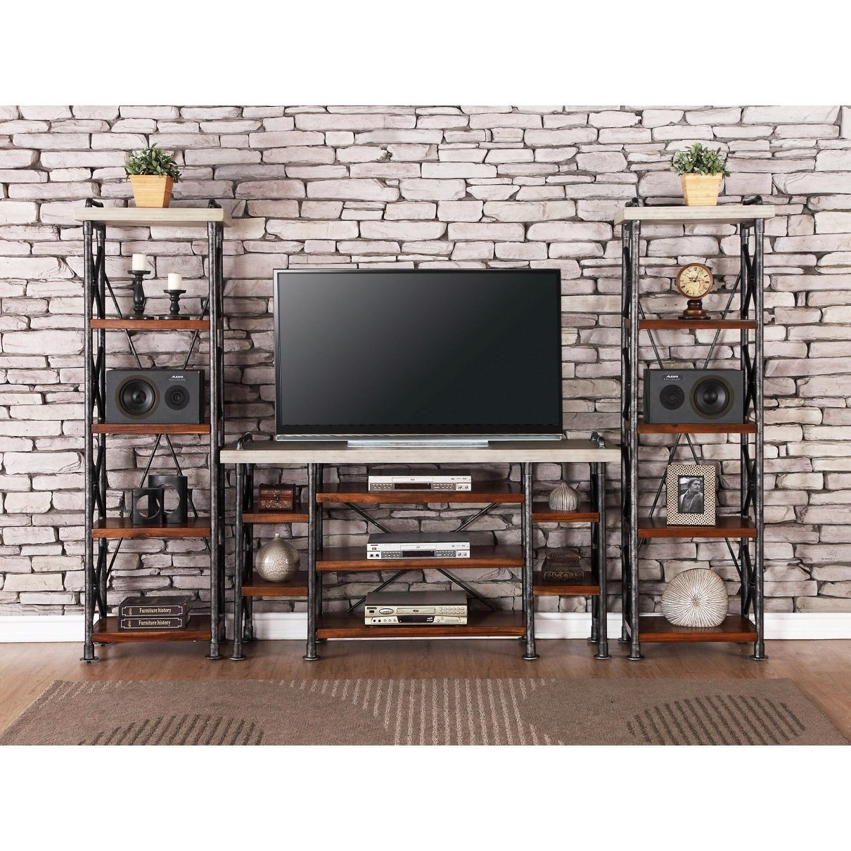 Large Wall Units For Living Room Steampunk Collection Industrial Entertainment Center With 15 Shelves By Legends Furniture At Dunk Bright Furniture