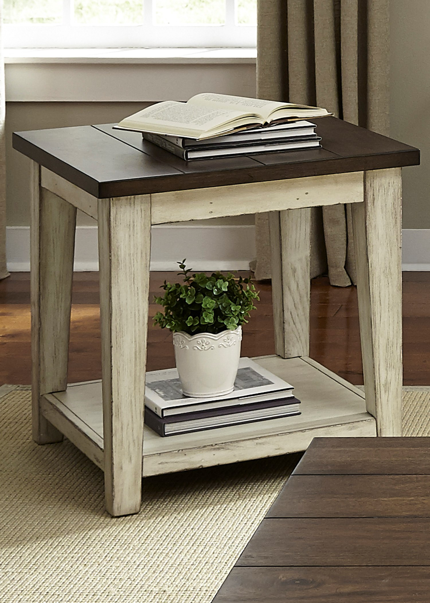 Settee End Table Lancaster Rustic End Table With Light Distressing By Liberty Furniture At Royal Furniture