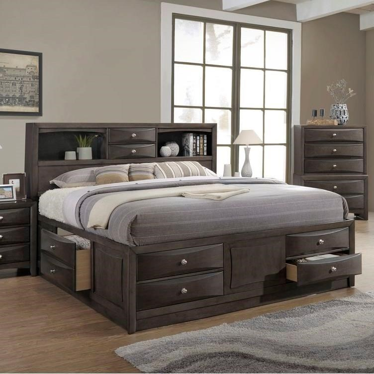 Bed Queen Todd Gray Queen Storage Bed W Bookcase Headboard By Lifestyle At Royal Furniture