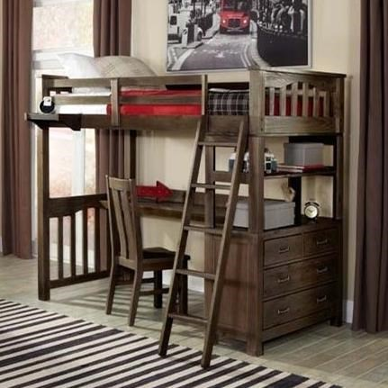 Bed With Desk Highlands Mission Style Twin Loft Bed With Desk By Ne Kids At Becker Furniture World