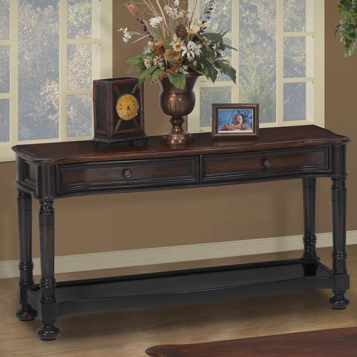 Black End Tables With Drawer Jamaica Two Tone Sofa Table With 2 Drawers And Shelf By New Classic At Dunk Bright Furniture