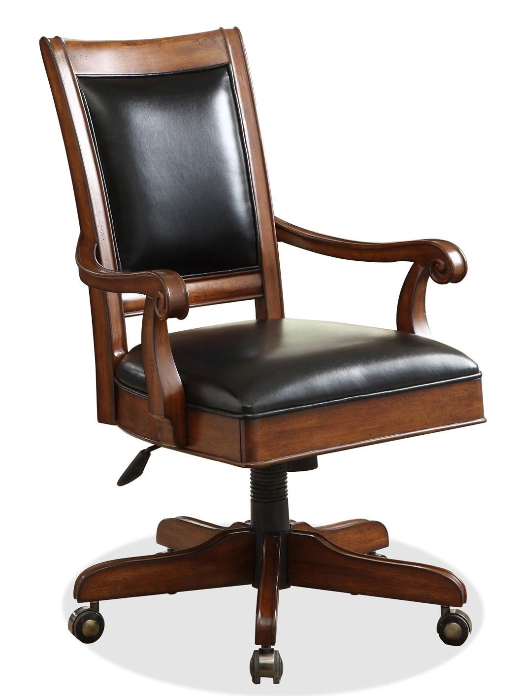 Desk Seat Bristol Court Caster Equipped Wooden Desk Chair With Leather Covered Seat By Riverside Furniture At Dunk Bright Furniture