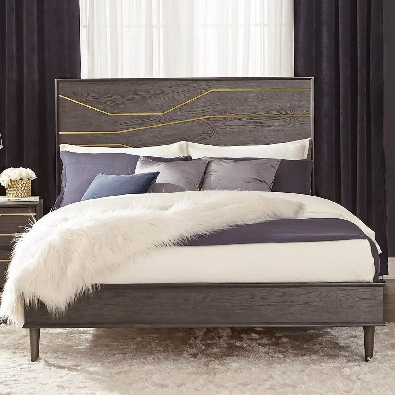 Cheap King Platform Beds Tara Contemporary King Platform Bed With Geometric Gold Inlay By Scott Living At Del Sol Furniture
