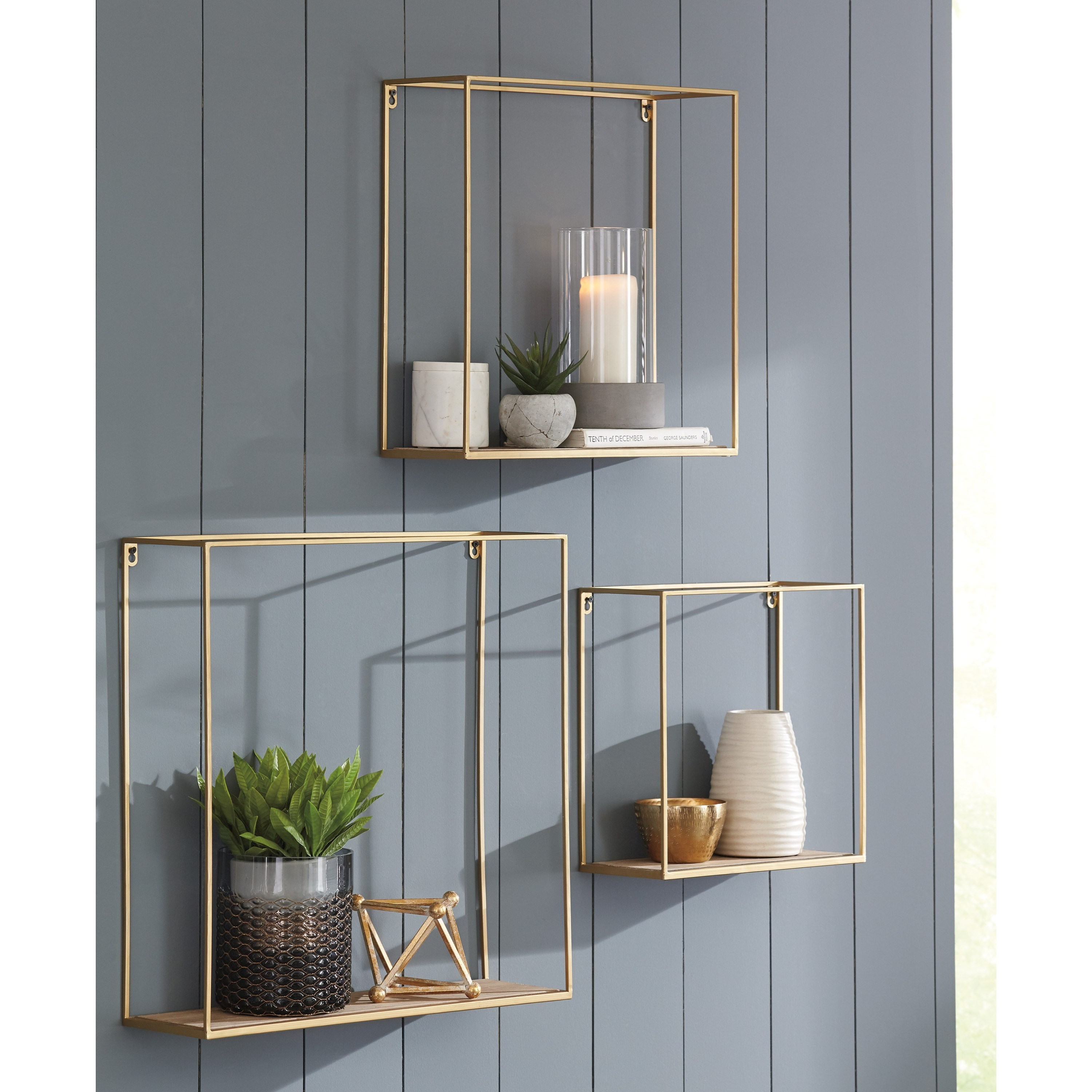 Wall Shelf Design Wall Art 3 Piece Efharis Natural Gold Wall Shelf Set By Signature Design By Ashley At Gill Brothers Furniture
