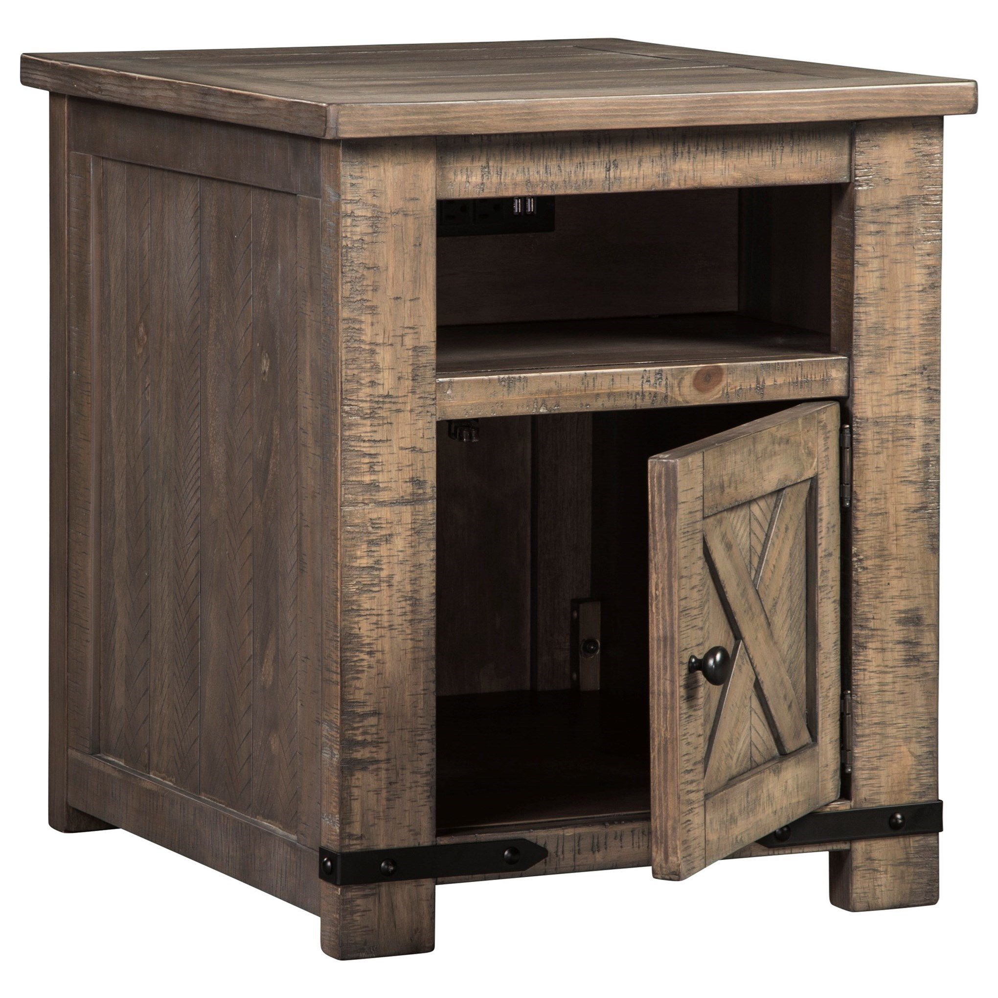 End Table For Living Room Aldwin Rustic End Table With Usb Charging By Signature Design By Ashley At Household Furniture