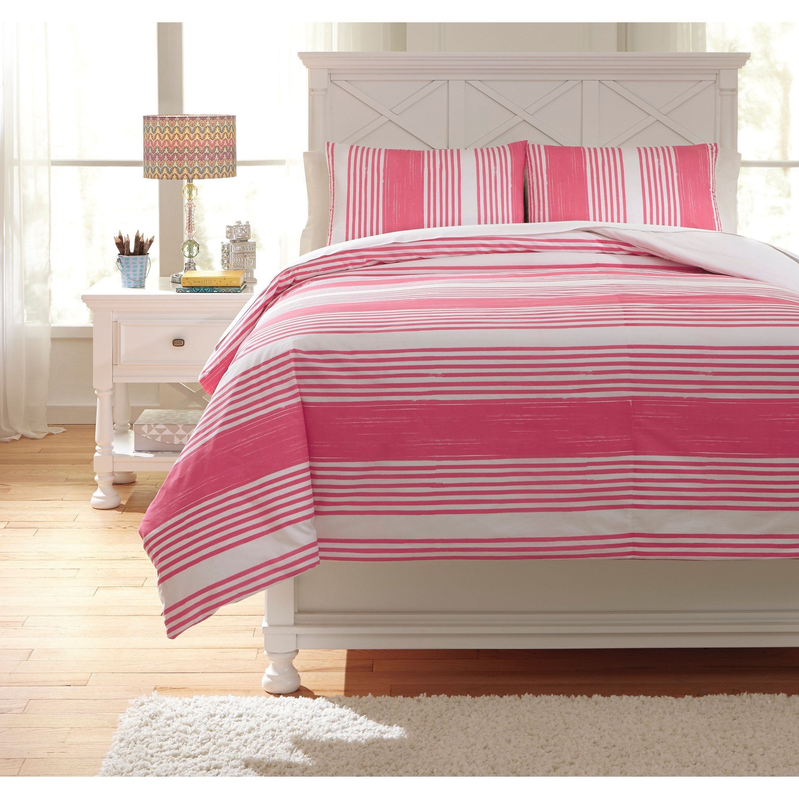 Pink Duvet Cover Bedding Sets Full Taries Pink Duvet Cover Set By Signature Design By Ashley At L Fish