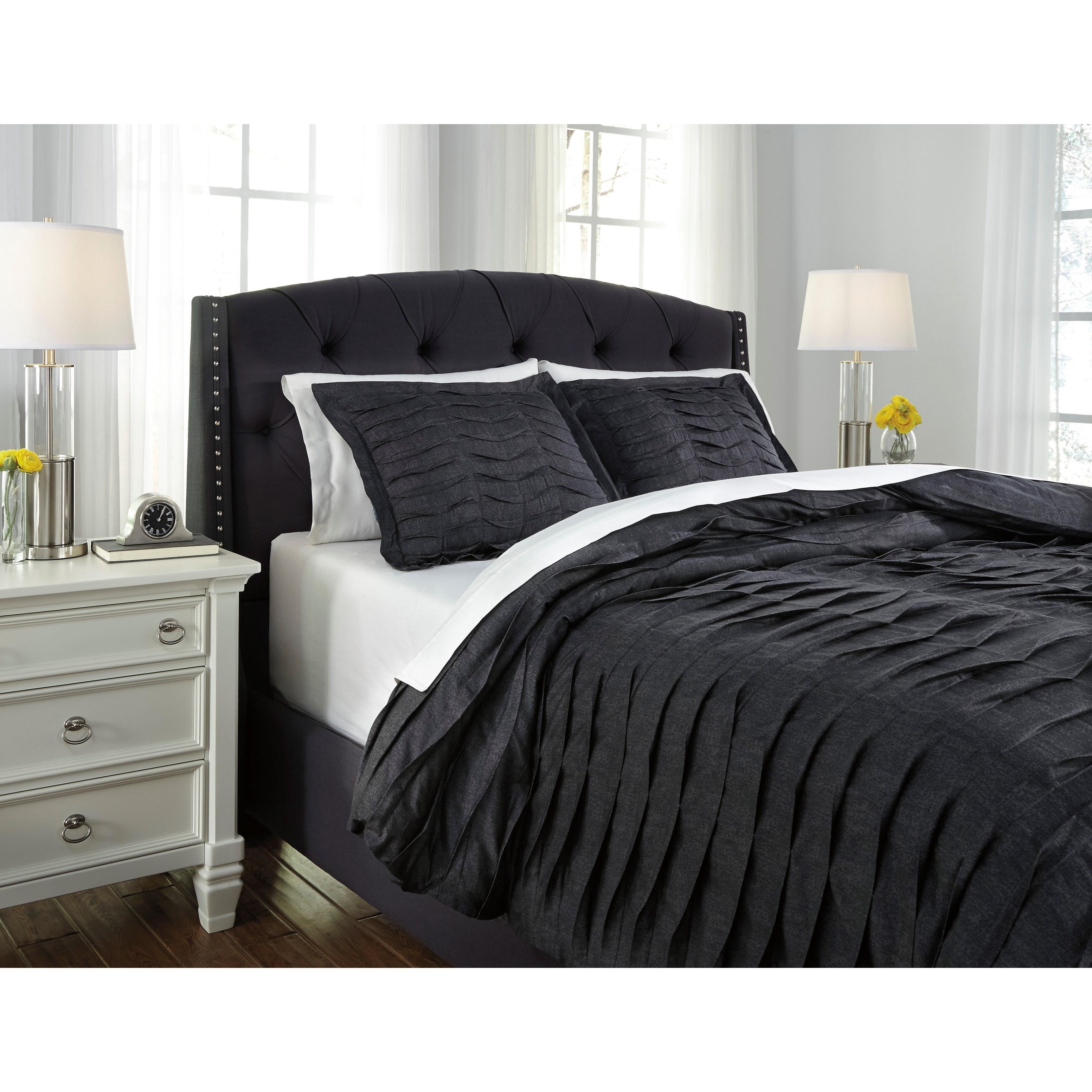Charcoal Bedding Sets Bedding Sets Queen Voltos Charcoal Duvet Cover Set By Signature Design By Ashley At Royal Furniture