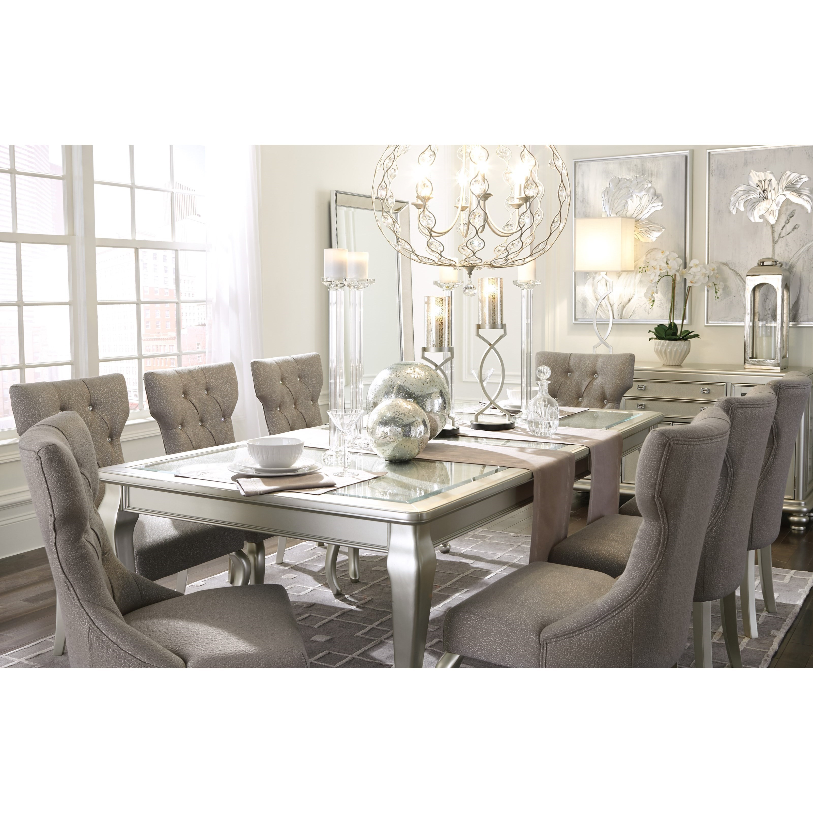 Signature Design By Ashley Coralayne 9 Piece Rectangular Dining Room Extension Table Set Royal Furniture Dining 7 Or More Piece Sets