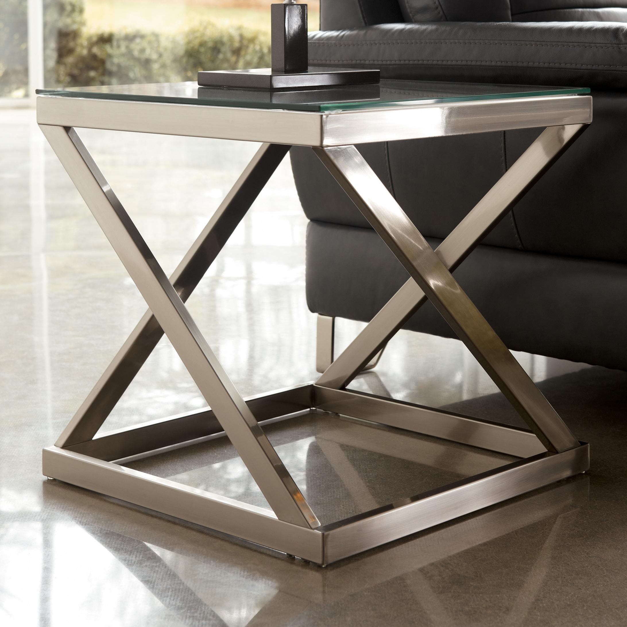 Metal Glass End Tables Coylin Brushed Metal Square End Table With Clear Tempered Glass Top By Signature Design By Ashley At Rotmans