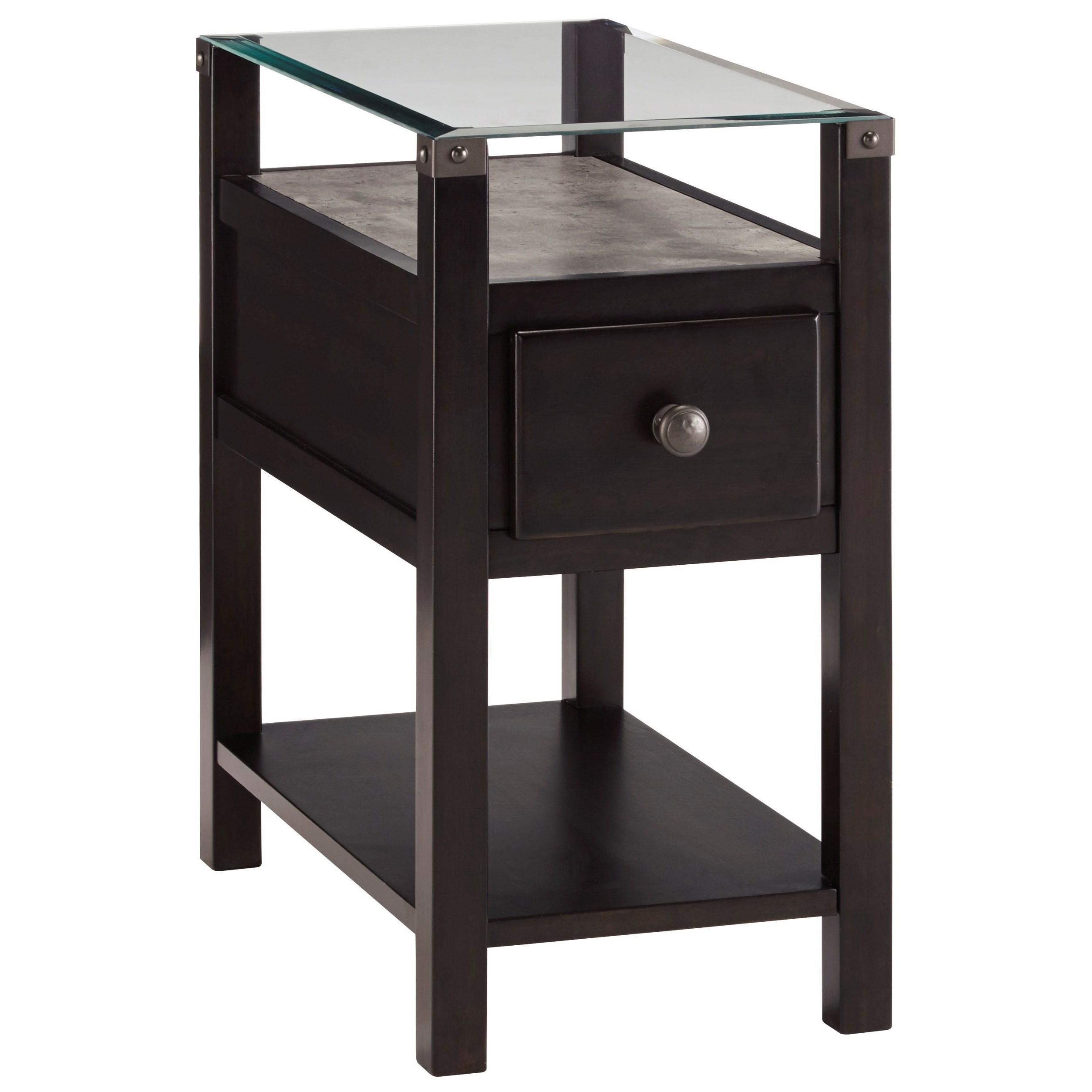 Black End Tables With Drawer Diana Almost Black Chair Side End Table With Glass Top And Faux Concrete Shelf By Trendz At Ruby Gordon Home