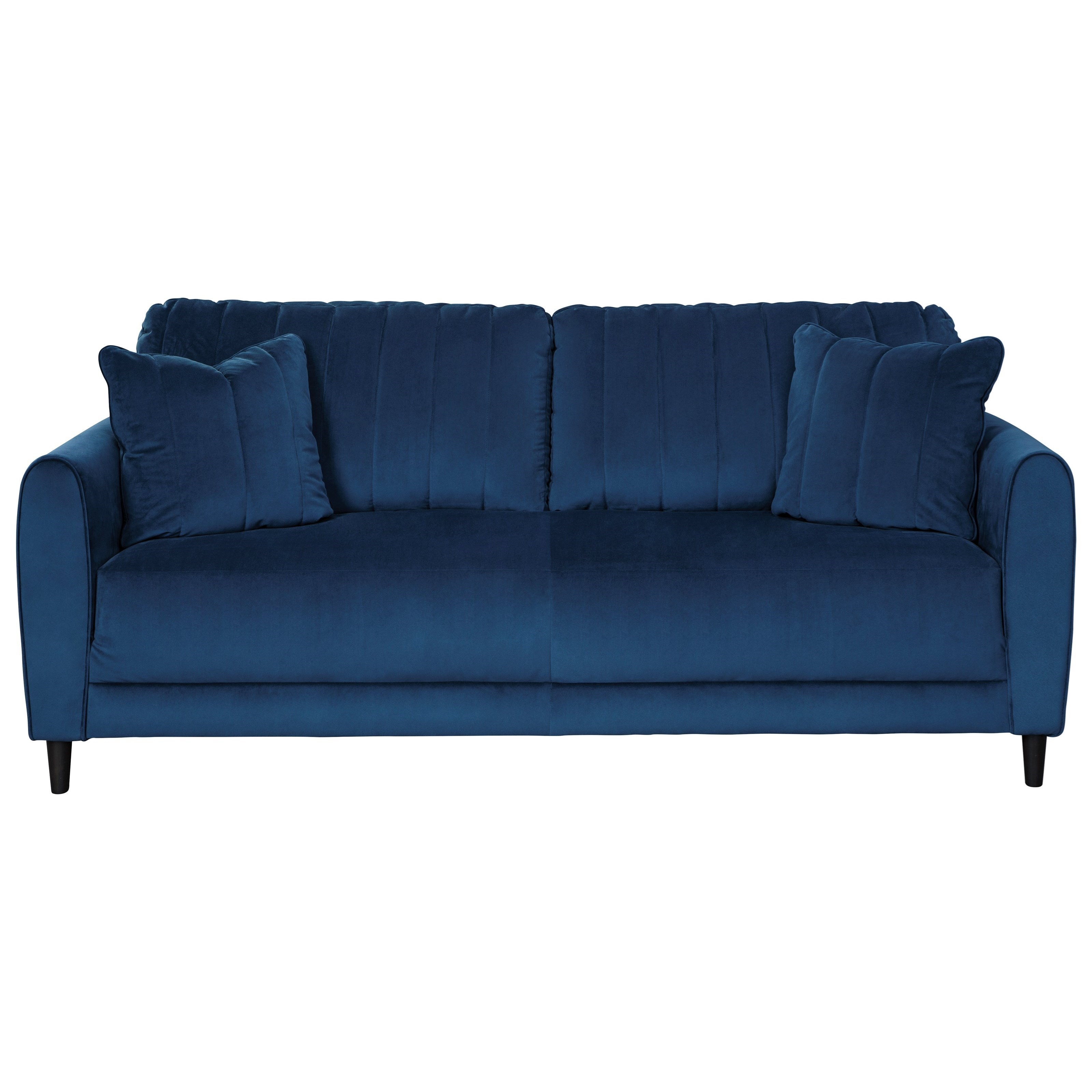 Signature Design By Ashley Enderlin Contemporary Sofa In Blue Velvet Fabric Wayside Furniture Sofas