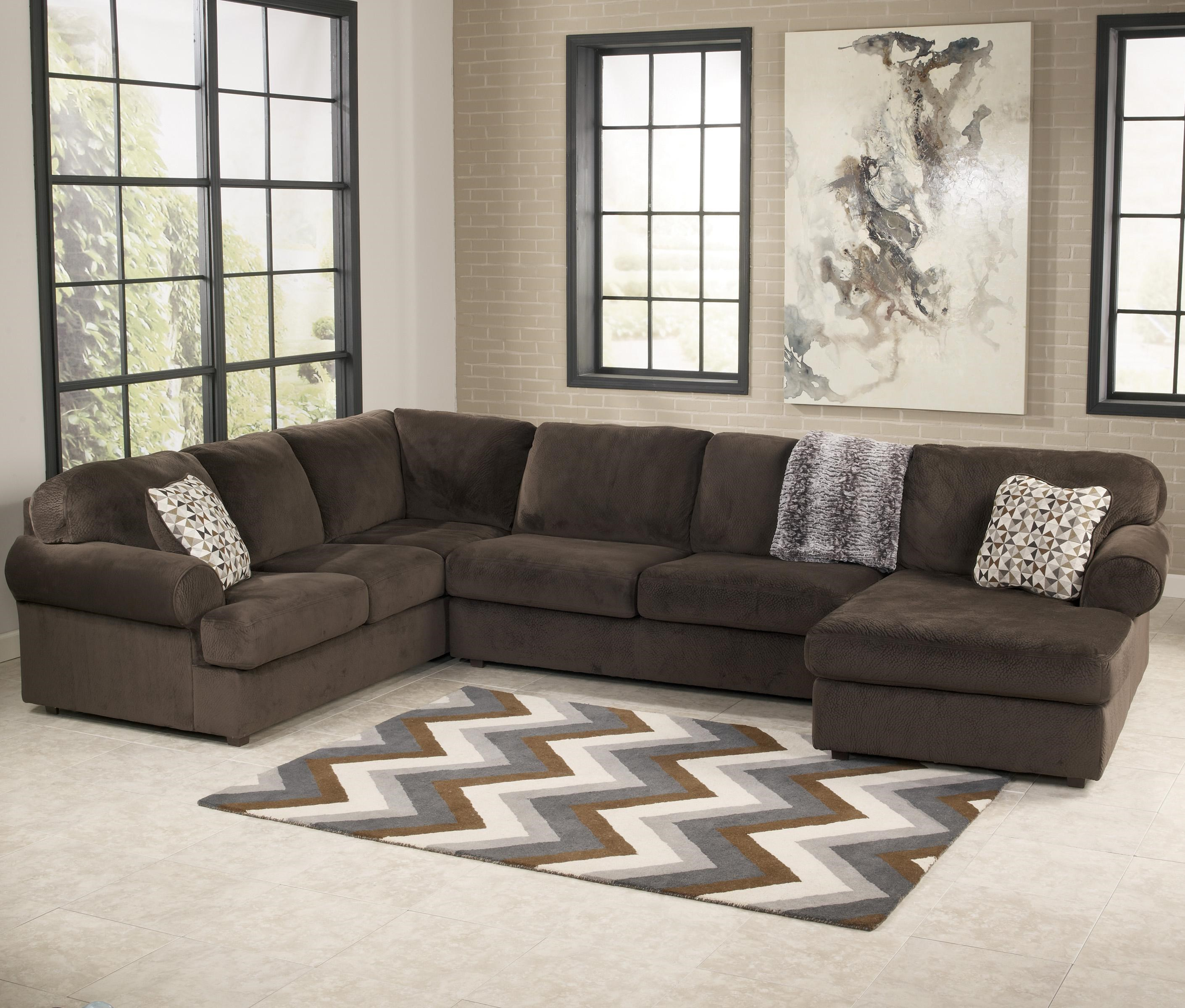 Furniture Chaise Jessa Place Chocolate Casual Sectional Sofa With Right Chaise By Signature Design By Ashley At Turk Furniture