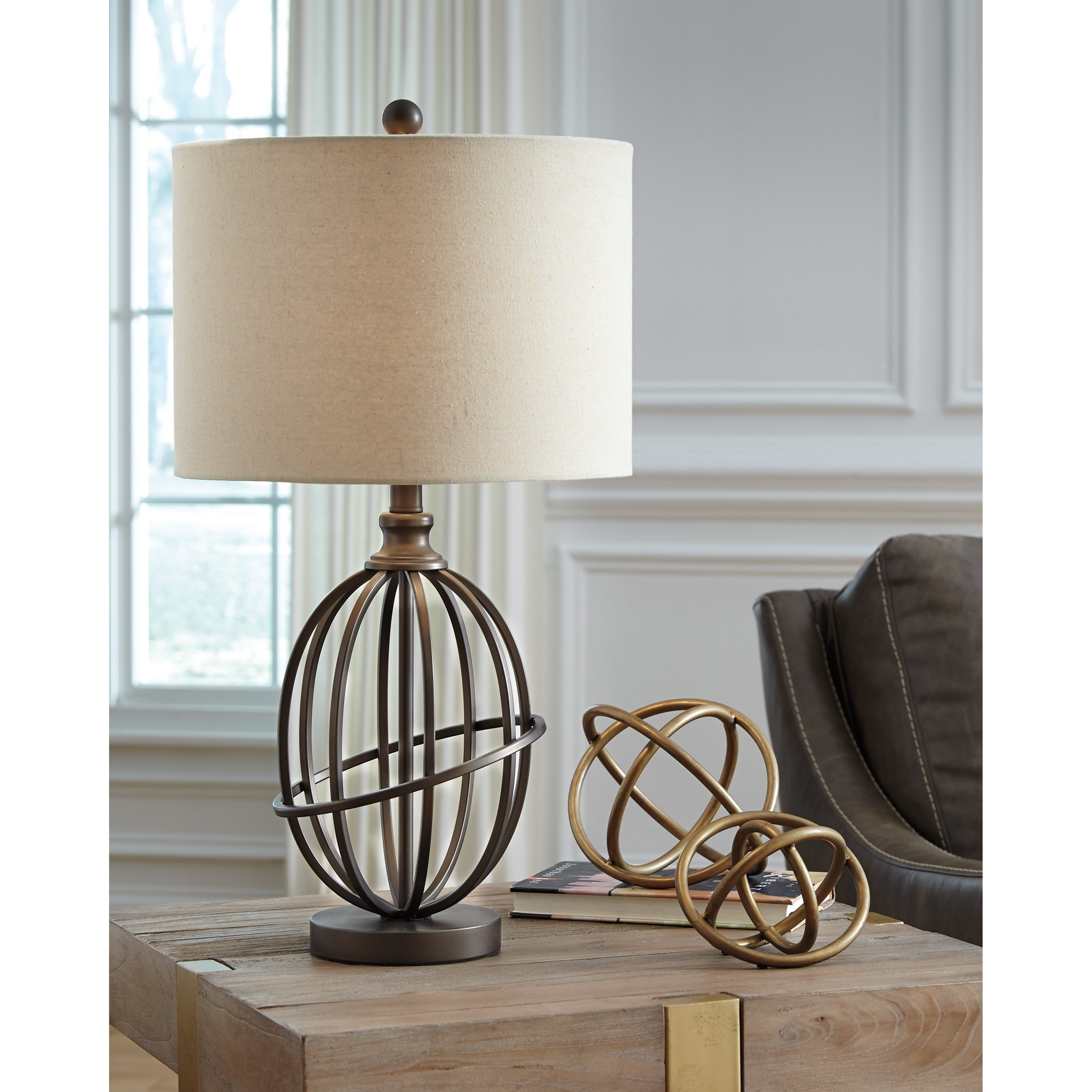 Floor Table Lamps Lamps Vintage Style Manase Bronze Finish Metal Table Lamp By Signature Design By Ashley At Household Furniture
