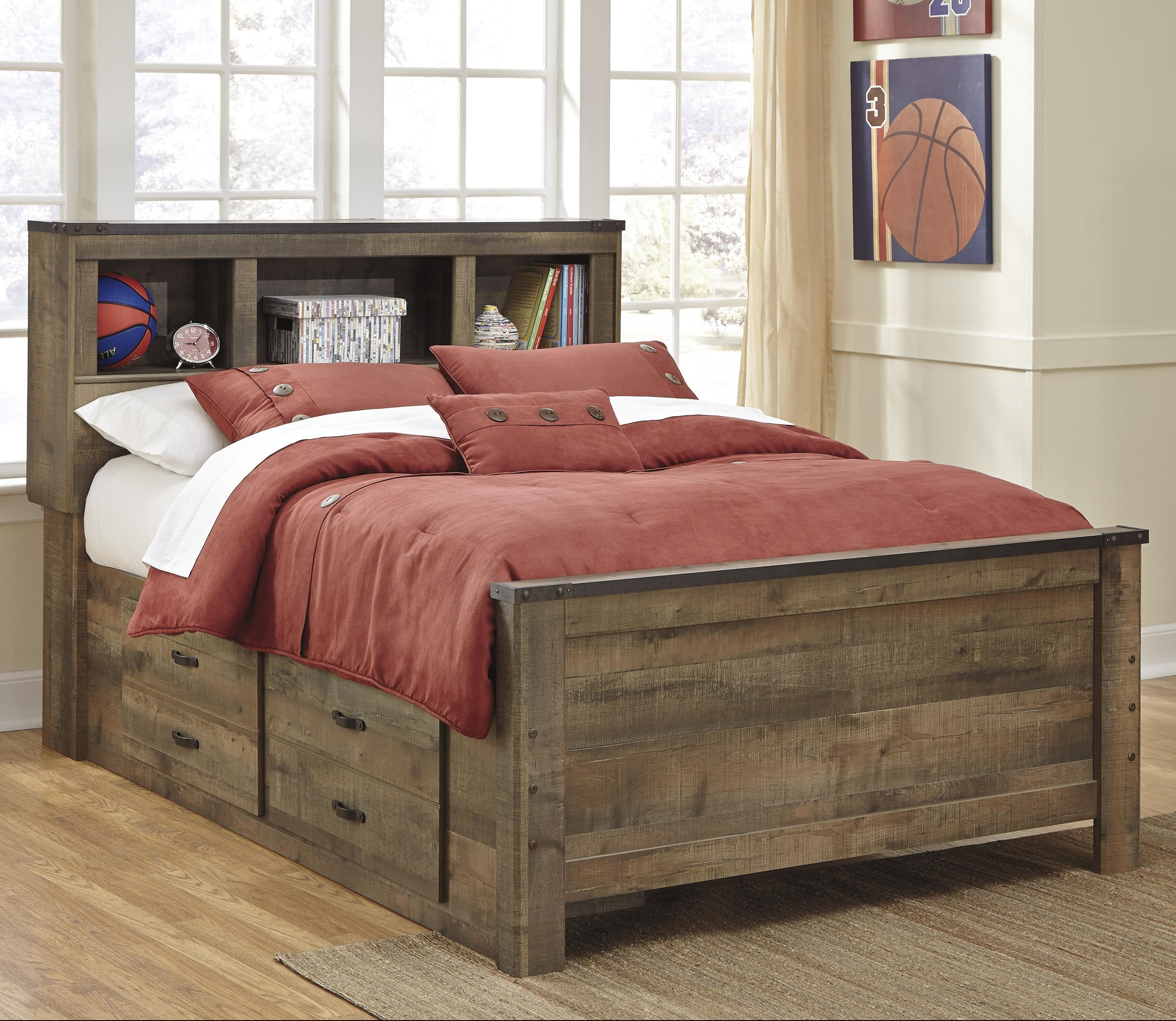 Bookcase Bed Trinell Rustic Look Full Bookcase Bed With Under Bed Storage By Signature Design By Ashley At Sparks Homestore Home Furnishings Direct
