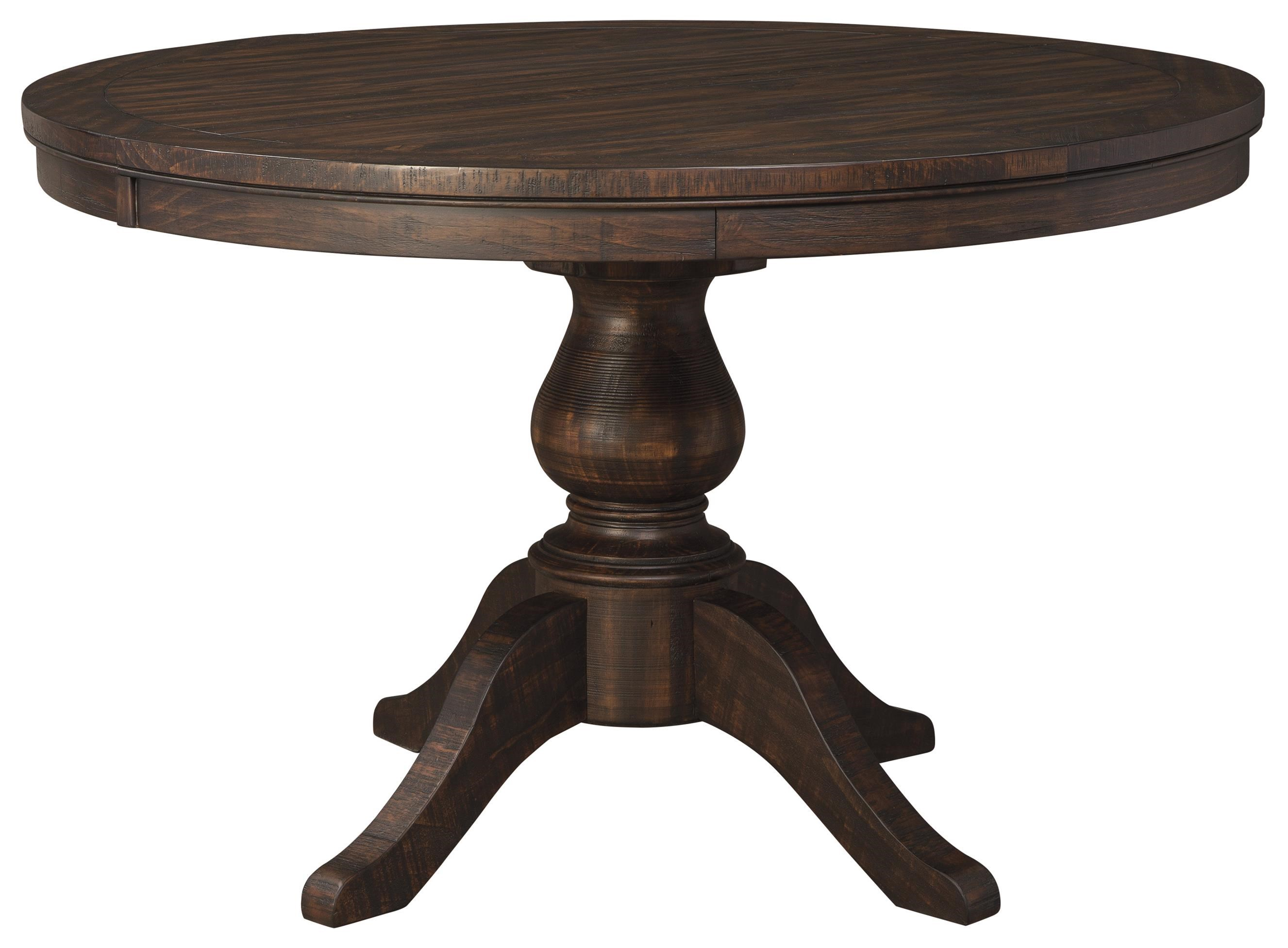 Round Dining Table With Extensions Trudell Solid Wood Pine Round Dining Room Pedestal Extension Table By Ashley Signature Design At Dunk Bright Furniture