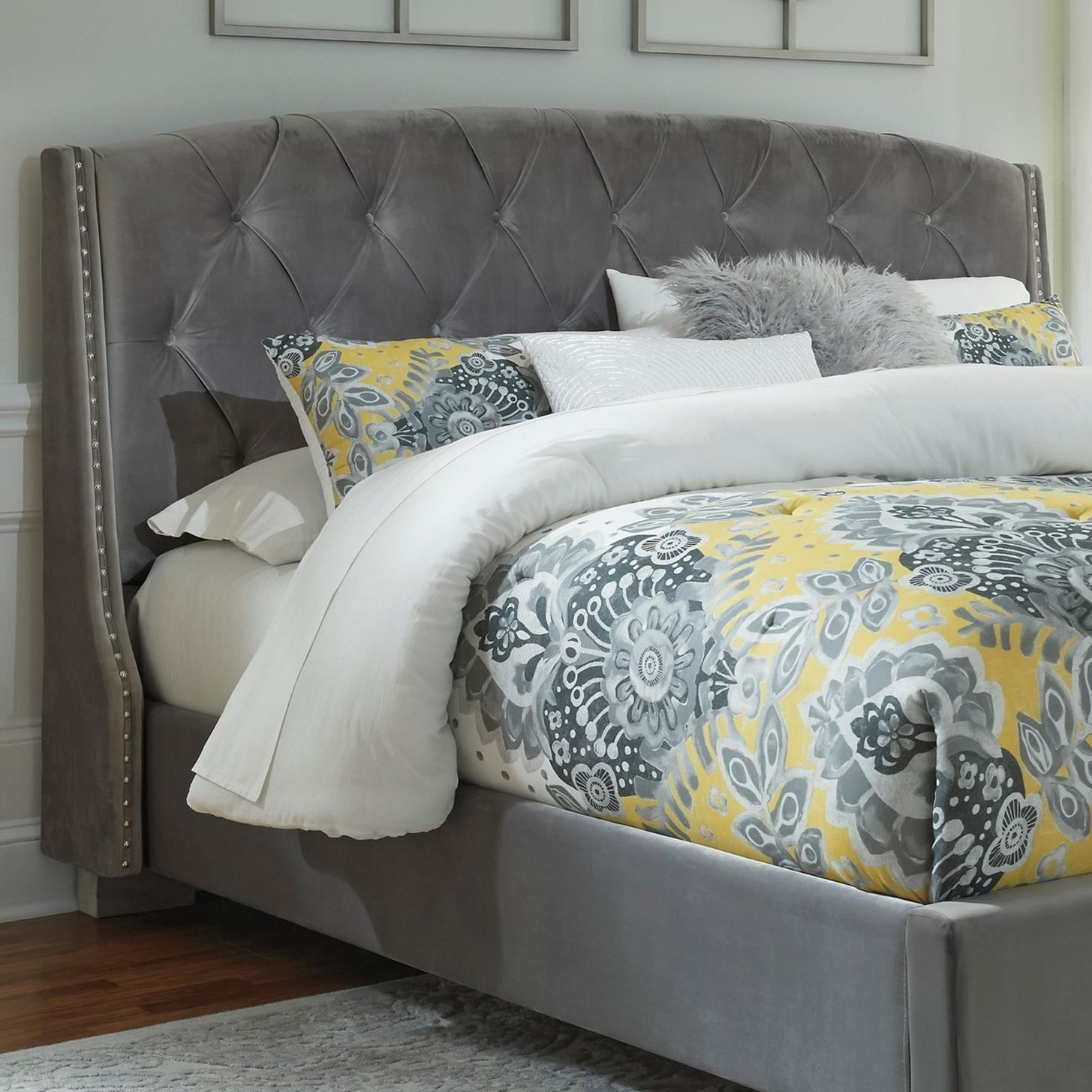 Bed Headboard Kasidon Queen Upholstered Headboard In Gray Velvet By Signature Design By Ashley At Sam Levitz Furniture