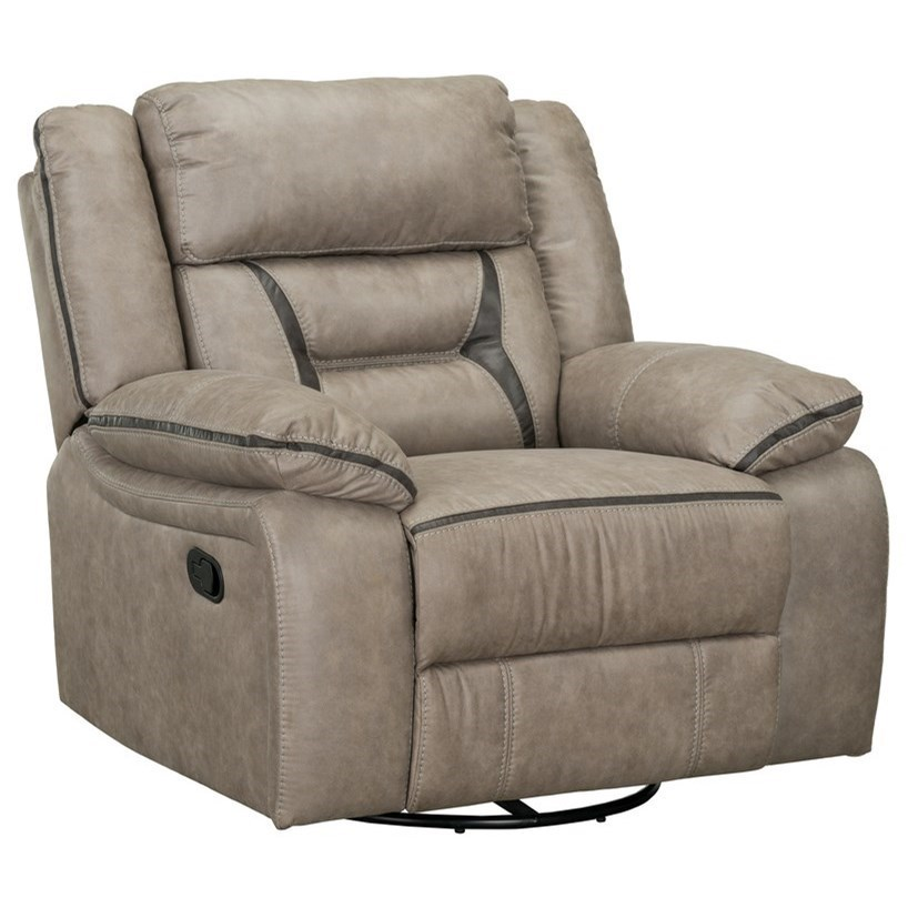 Standard Furniture Acropolis Casual Swivel Gliding Manual Recliner With Pillow Arms Royal Furniture Recliners