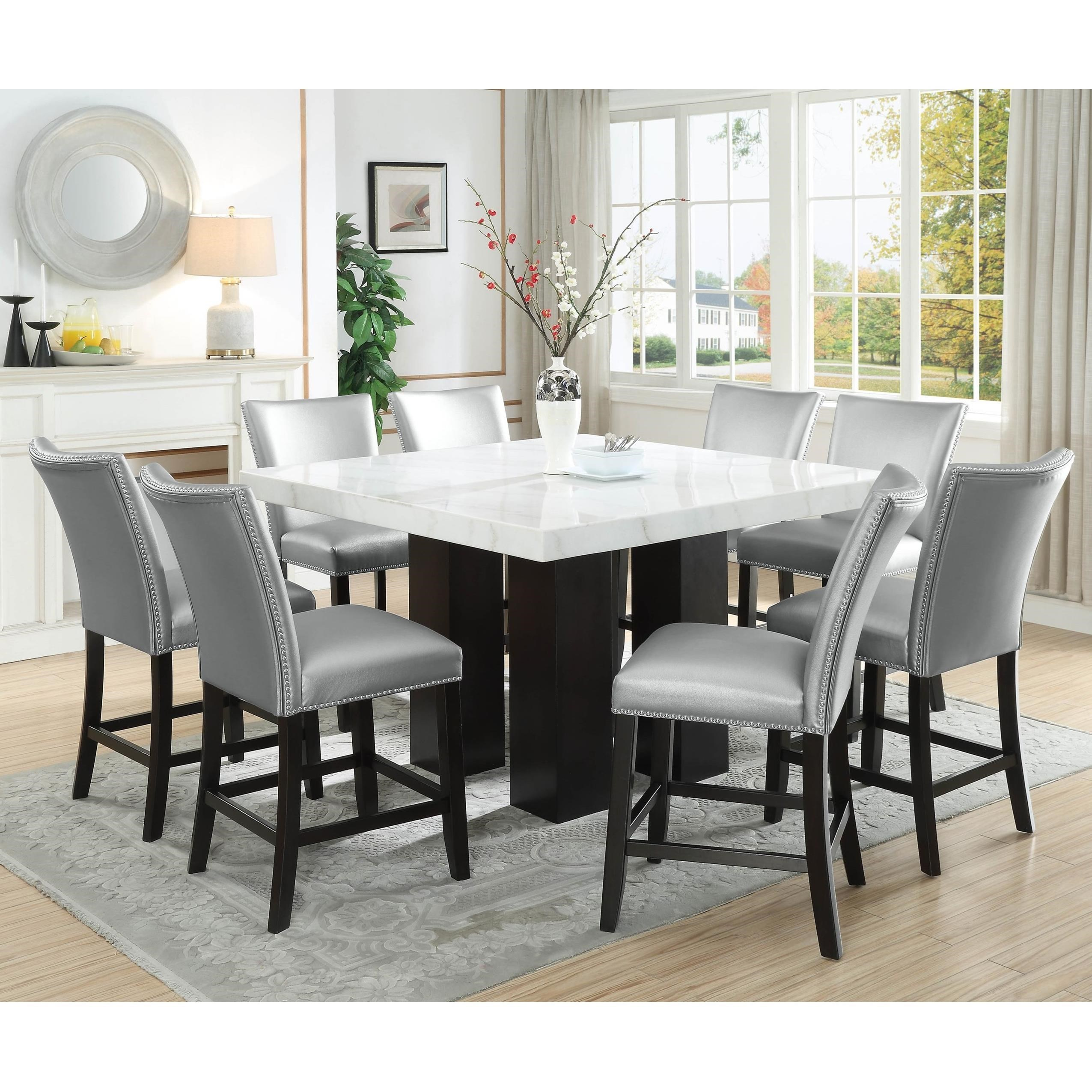 Modern Dining Set Camila 9 Piece Counter Height Dining Set With Marble Top By Vendor 3985 At Becker Furniture World