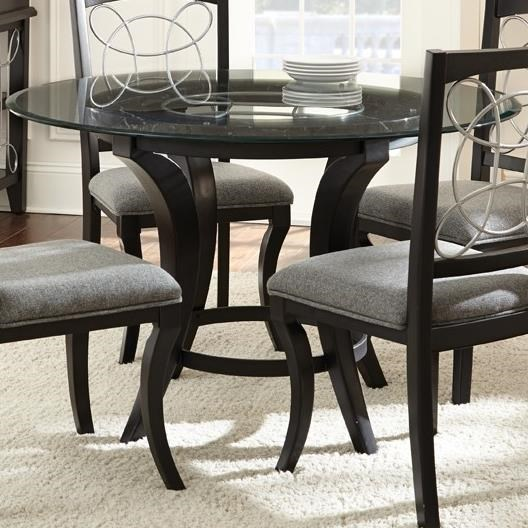 Round Glass Top Dining Table Cayman Round Glass Dining Table With Trestle Base By Prime At Prime Brothers Furniture