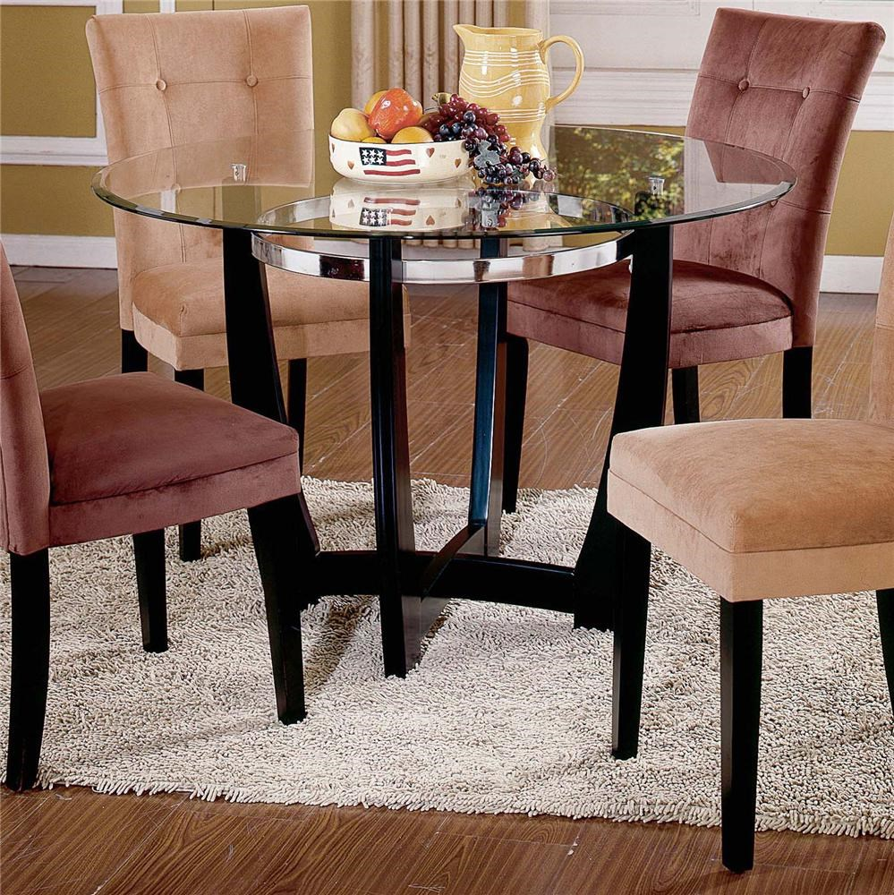 Round Glass Top Dining Table Matinee Glass Top Dining Table By Steve Silver At Wilson S Furniture